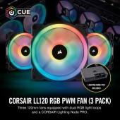 Case Fan Corsair LL120 120mm RGB Dual Light Loop PWM CO-9050072-WW πακέτο 3 τεμαχίων
