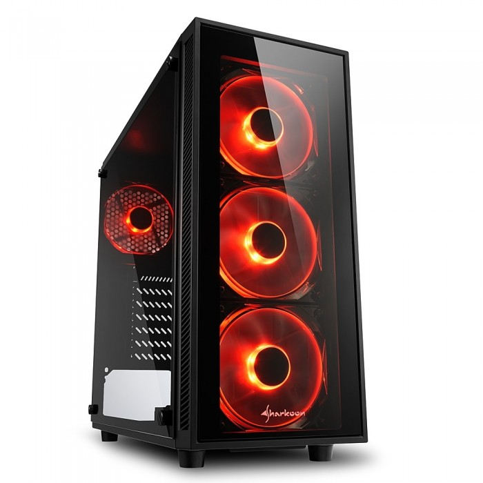Case Midi Tower Sharkoon TG4 Red